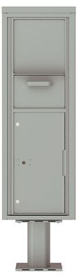 Versatile Front Loading Single Column Pedestal Mailbox Collection Drop Box with Pull Down Hopper - 4C14S-HOP-P