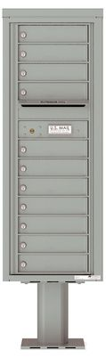 Versatile Front Loading Single Column Pedestal Mailbox with 11 Tenant Doors and Outgoing Mail Slot
