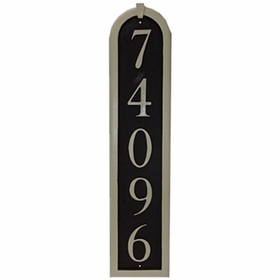 "Vertical Cast Aluminum Address Plaque with Flat Letters (6 1/2"" x 28 1/4"")"