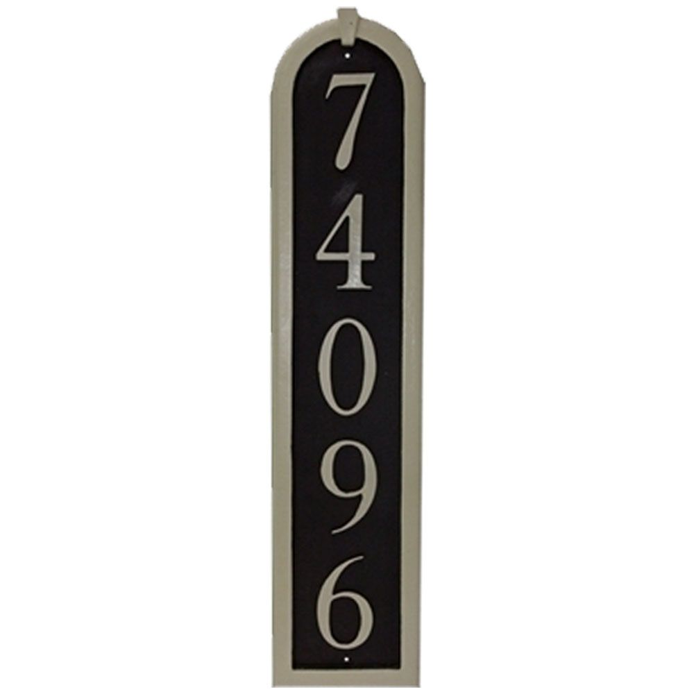 68906d73160f5 Vertical Cast Aluminum Address Plaque with Flat Letters (6 1/2