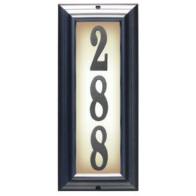 Edgewood Vertical Lighted Address Plaque with Cast Aluminum Numbers (Choose Frame and Numbers)