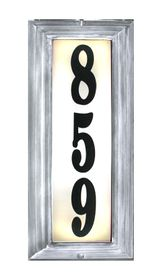Edgewood Vertical Lighted Address Plaque with Cast Aluminum Numbers - Pewter Frame