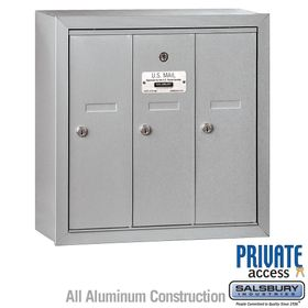 3 Doors Vertical Mailboxes - Surface Mounted - Private Access