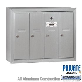 4 Doors Vertical Mailboxes - Surface Mounted - Private Access