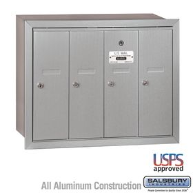 Vertical Mailbox - 4 Doors - Recessed Mounted - USPS Access