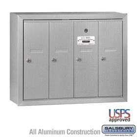 Salsbury 3504ASU 4-Door Vertical Mailbox - Aluminum Finish - USPS Access