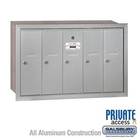 5 Door Vertical Mailboxes - Recessed Mounted - Private Access