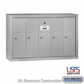 Salsbury 3505ASU 5 Door Vertical Mailbox Aluminum Finish Surface Mounted USPS Access