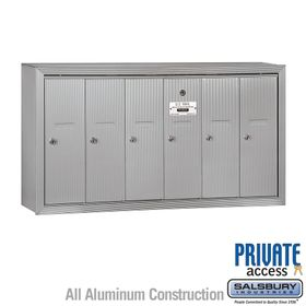 6 Doors Vertical Mailboxes - Surface Mounted - Private Access