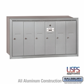 Vertical Mailbox - 6 Doors - Recessed Mounted - USPS Access