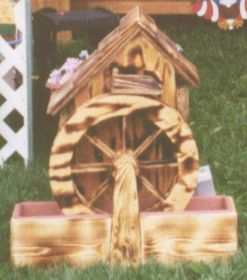 """WATER WHEEL - Old Grain Mill with Pump in Pine (26"""" H)"""