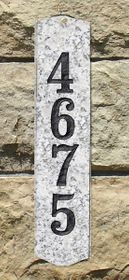 Wexford Vertical Solid Granite Address Plaque With Engraved Text - White