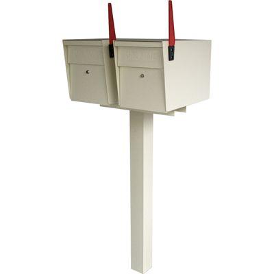 Ultimate High Security Locking Double Mailbox Package - White