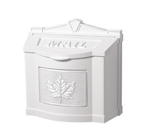 White Wall Mount Mailbox with White Leaf Emblem