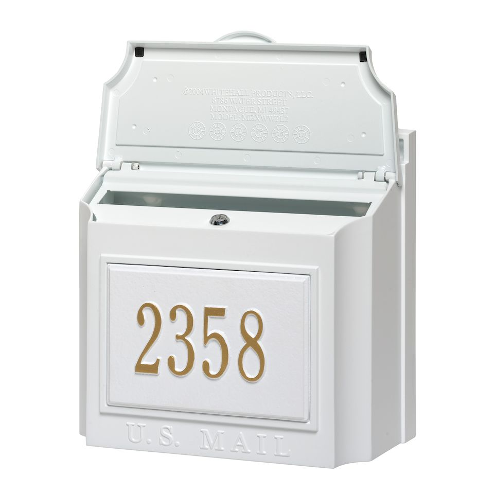 Whitehall Custom Wall Mount Mailbox with Removable Locking Insert - White  (Includes Personalized Address Plaque)