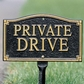 """Whitehall Private Drive Statement Plaque - Wall/Lawn - Black/Gold  (18"""" Lawn Stake Included)"""