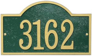 Whitehall Products Fast & Easy Arch House Numbers Plaque - Green / Gold Lettering