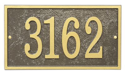 Whitehall Products Fast & Easy Rectangle House Numbers Plaque - Bronze / Gold Lettering