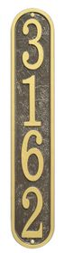 Whitehall Products Fast & Easy Vertical House Numbers Plaque - Bronze / Gold Lettering