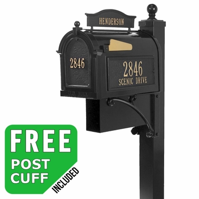 Whitehall Ultimate Streetside Mailbox Package in Black