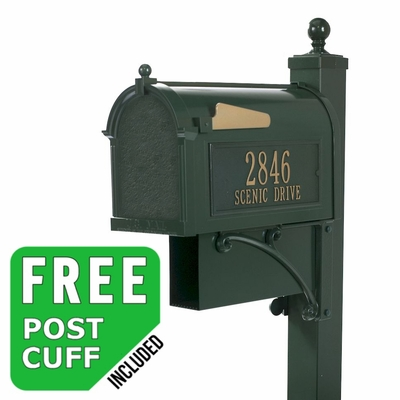 Whitehall Westwood Streetside Mailbox Package with Newspaper Holder in Green
