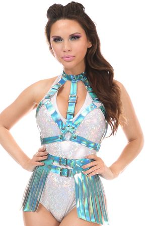 2 PC Teal Holo Body Harness Set