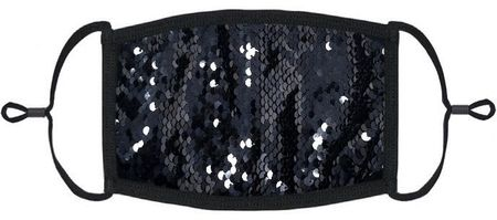 Black/Black Flip Sequin Fabric Face Mask