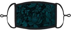 Dark Teal Floral Fabric Face Mask