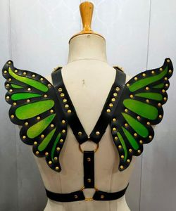 Faux Leather Green/Gold Butterfly Wing Harness - IN STOCK