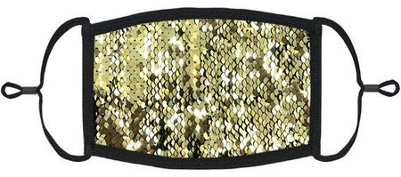 Gold/Black Flip Sequin Fabric Face Mask
