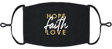"""Hope, Faith, Love"" Fabric Face Mask"
