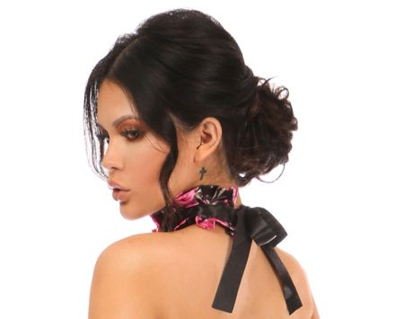 Kitten Collection Pink Floral Satin Choker - IN STOCK