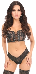 Lavish Black Fishnet & Faux Leather Lace-Up Short Bustier Top - IN STOCK