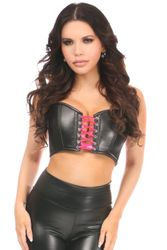 Lavish Black/Hot Pink Faux Leather Lace-Up Short Bustier Top - IN STOCK