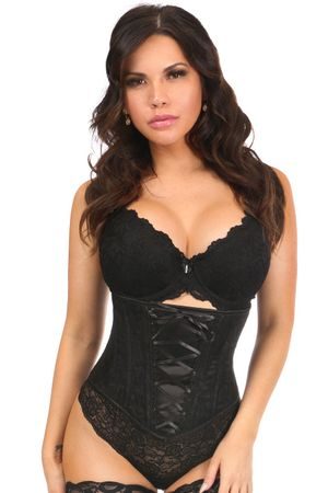 Lavish Black Lace-Up Underbust Corset w/Black Lace - IN STOCK