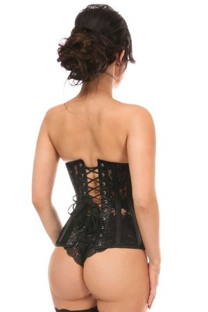 Lavish Black Sheer Lace Underwire Open Cup Underbust Corset - IN STOCK