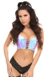 Lavish Blue/Purple Holo Lace-Up Short Bustier Top - IN STOCK