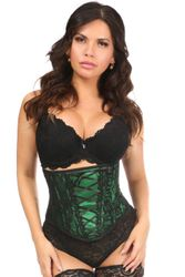 Lavish Green Lace-Up Underbust Corset w/Black Lace - IN STOCK