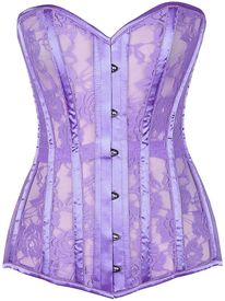 Lavish Lilac Sheer Lace Over Bust Corset