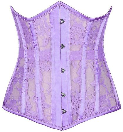 Lavish Lilac Sheer Lace Under Bust Corset