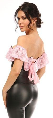 Lavish Lt Pink Lace & Faux Leather Bustier Top - IN STOCK
