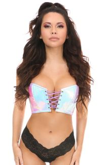 Lavish Mermaid Holo Lace-Up Short Bustier Top - IN STOCK