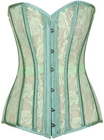 Lavish Mint Green Sheer Lace Over Bust Corset