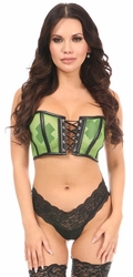 Lavish Neon Green Fishnet & Faux Leather Lace-Up Short Bustier Top - IN STOCK