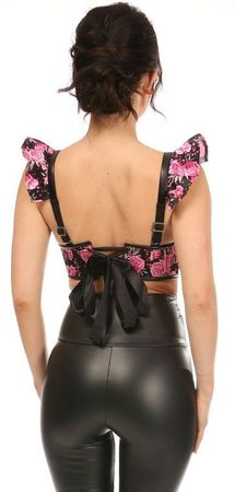 Lavish Pink Floral Underwire Bustier Top w/Removable Ruffle Sleeves
