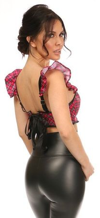 Lavish Pink Plaid Underwire Bustier Top w/Removable Ruffle Sleeves