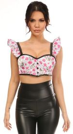 Lavish Pink Roses Underwire Bustier Top w/Removable Ruffle Sleeves
