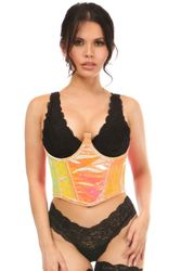 Lavish Pink/Yellow Holo Open Cup Underwire Waist Cincher - IN STOCK