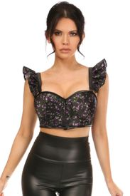 Lavish Purple Floral Underwire Bustier Top w/Removable Ruffle Sleeves