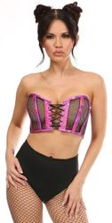 Lavish Fuchsia Holo & Fishnet Lace-Up Short Bustier Top - IN STOCK